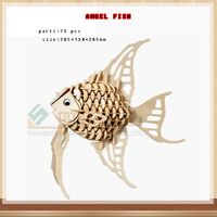 Baby Kids Wooden Angelfish Educational Toys Puzzle Children Early Learning 3D Shapes Wood Jigsaw Puzzles DIY
