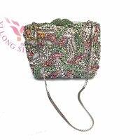 Women Stylish Rhinstone Flower Clutch Evening Bag Floral Design Metal Womens Cross body Bags 2017 YLS F66