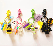 Cute Buzz Lightyear Batman Superman Figures Doll Keychain Building Block Key Ring Pendant for Women Bag Backpack Accessories(China)