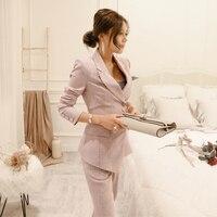 Для женщин бизнес повседневный комплект из двух Костюм из нескольких предметов (куртка + Штаны) Для женщин Мода Тонкий костюм Для женщин пле