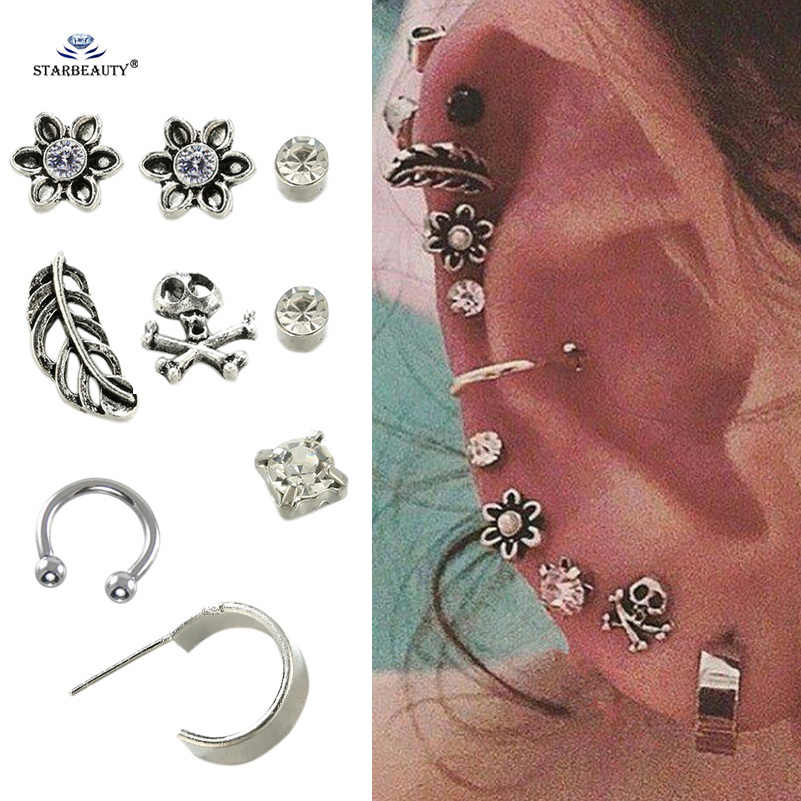Starbeauty 9 pcs/lot Skull Flower Leaf Fake Ear Piercing Helix Piercing Tragus Nose Ring Pircing Earrings Brinco Body Jewelry