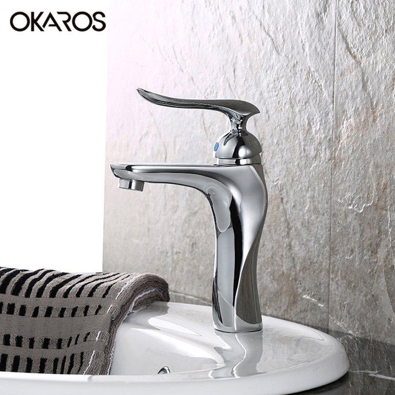 OKAROS Basin Faucet Bathroom Faucet Solid Brass Chrome Finish Single Handle Vessel Sink Hot And Cold Water Tap Mixer Torneira