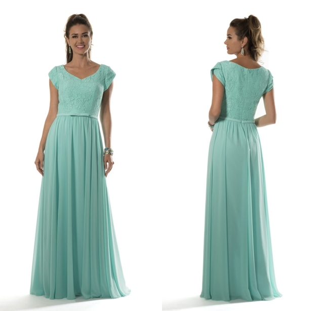 Aqua Lace Bodice Chiffon Modest Bridesmaid Dresses Long 2019 With cap Sleeves V Neck Floor Length Maids of Honor Dresses New