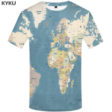 KYKU Brand World Map T-shirts Men Vintage Print Graffiti Tshirt Printed Funny Tshirts Casual Homme Short Sleeve Cool