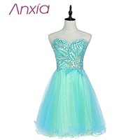 New style sweetheart green tulle short homecoming dresses 2016 robe de soiree sexy beaded ruched hem.jpg 200x200