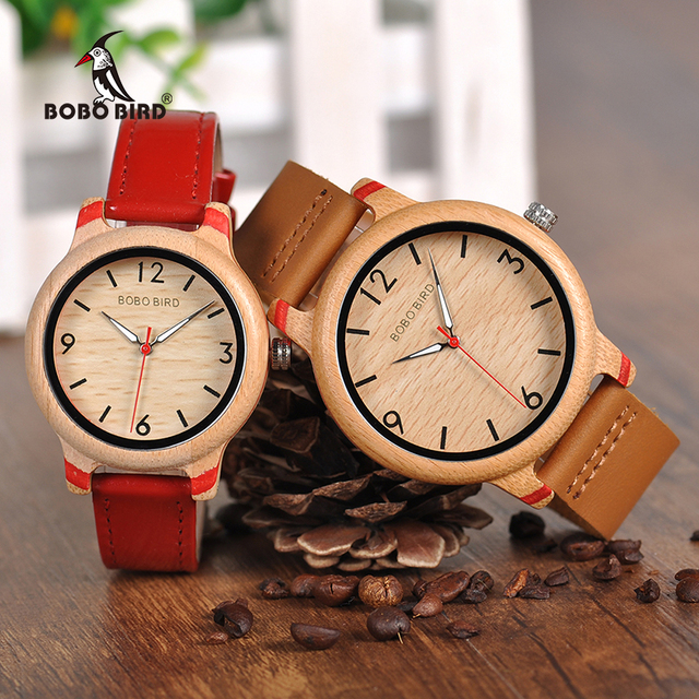 BOBO BIRD Couple Watch Women Wooden Men's Watches Quartz Men Bamboo relogio femi