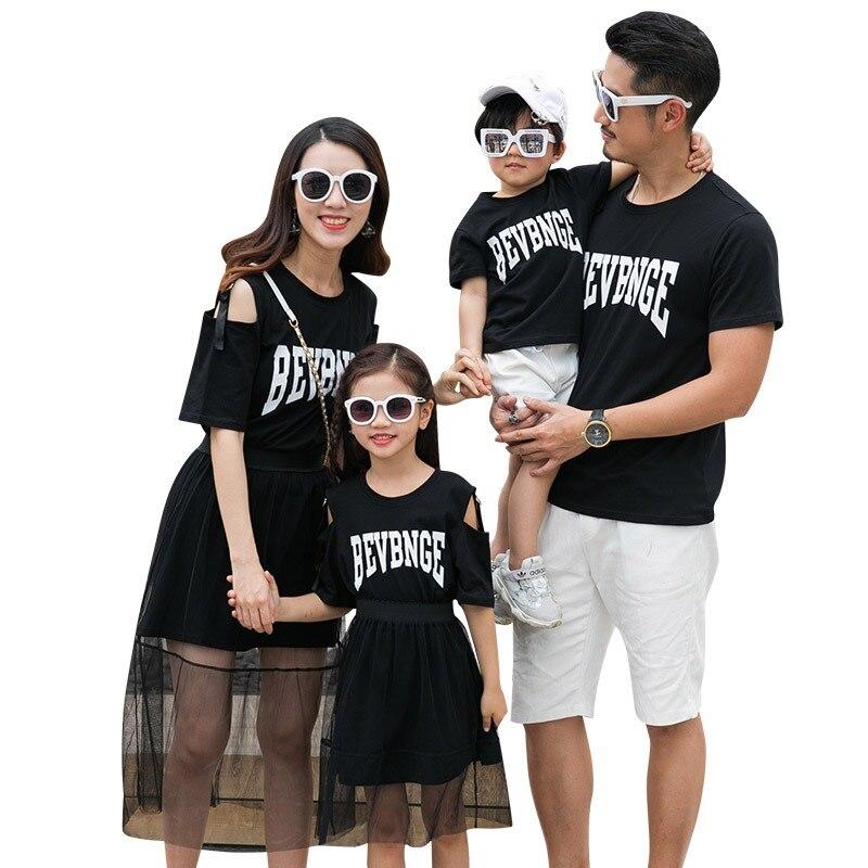 8a943f48e0 Jednakowe stroje rodzinne matka córka sukienka rodzina odzież lato ojciec  syn koszulki krótkie spodnie kobiety dziewczyna