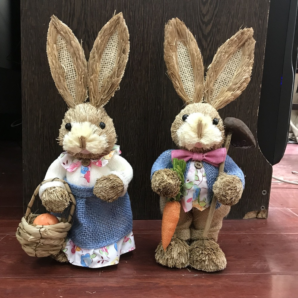 H35cm 2pcs lot cute Greeting Easter rabbit and bunny series straw handicraft suspends the pastoral idyllic
