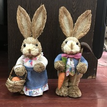 H35cm,2pcs/lot,cute Greeting Easter rabbit and bunny series straw handicraft suspends the pastoral - idyllic,wedding decoration
