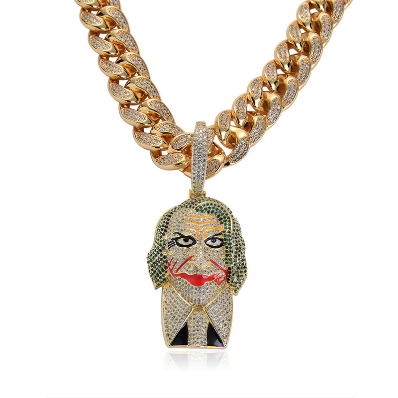 Big Size Clown Pendant Necklace New Arrival Hip Hop Jewelry AAA Cubic Zirconia Iced Out Mens