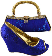 Free Shipping Fashion woman italian matching shoes and bags set,party Italian shoe and bag set with sequins royal blue! HMN1-3