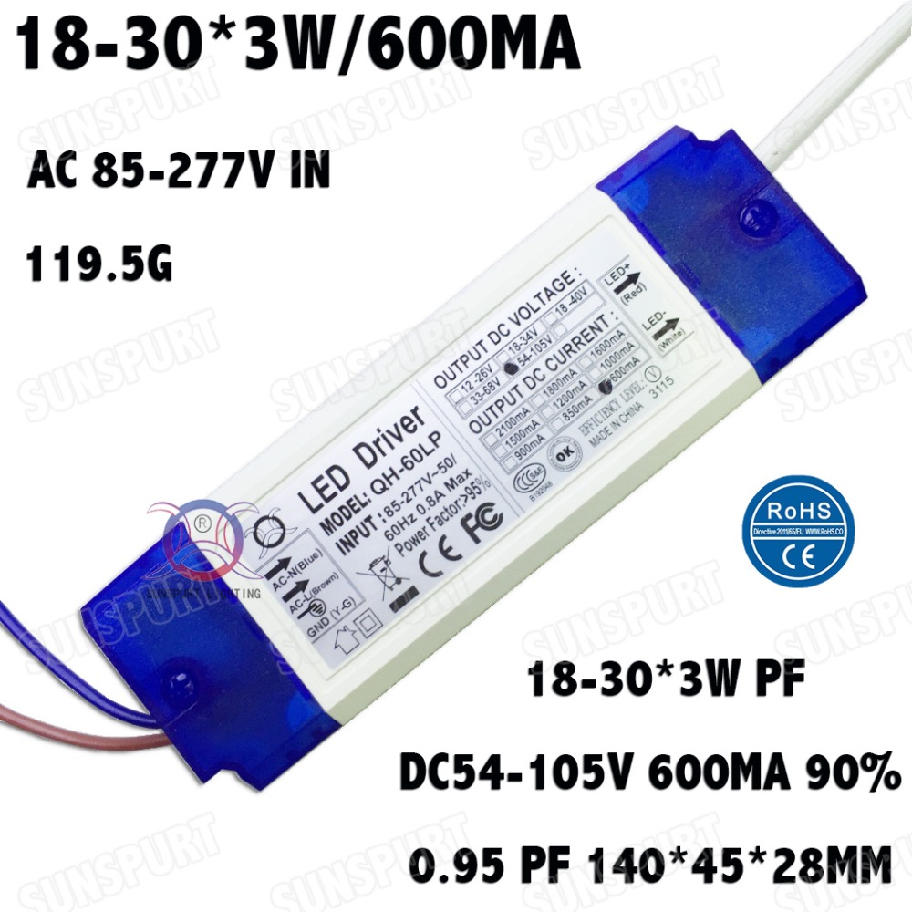 2 Pieces LED Driver 60W AC85-277V Constant Current 18-30x3W 600mA DC54-105V PFC LED Power Supply For Floodlight Free Shipping