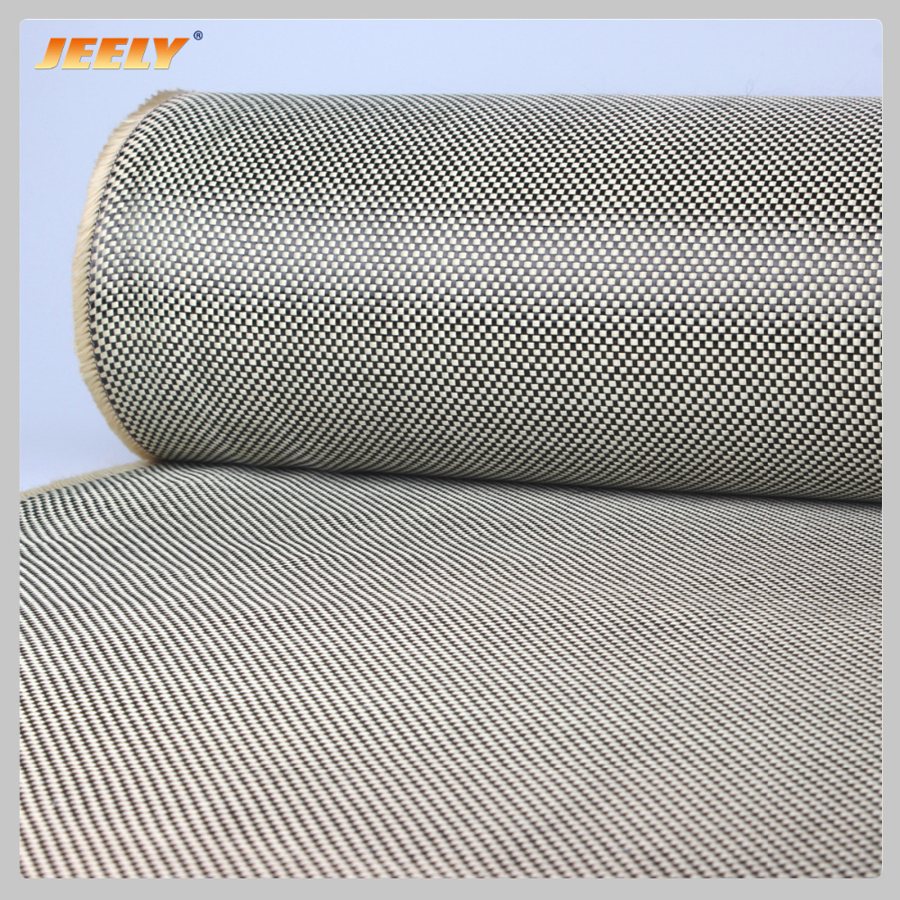 Jeely Aramid  1670Dtex Carbon 3K Fiber Weave Fabric 200g/m2 Carbon Aramid Yarn Pattern Plain Woven Cloth 1m*0.5mJeely Aramid  1670Dtex Carbon 3K Fiber Weave Fabric 200g/m2 Carbon Aramid Yarn Pattern Plain Woven Cloth 1m*0.5m