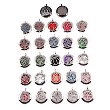 10Pcs/lot Mix 27 Designs Paw Print Tree Essential Oil Diffuser Locket Pendant Necklace 25mm Screw Stainless Steel Necklace(China)