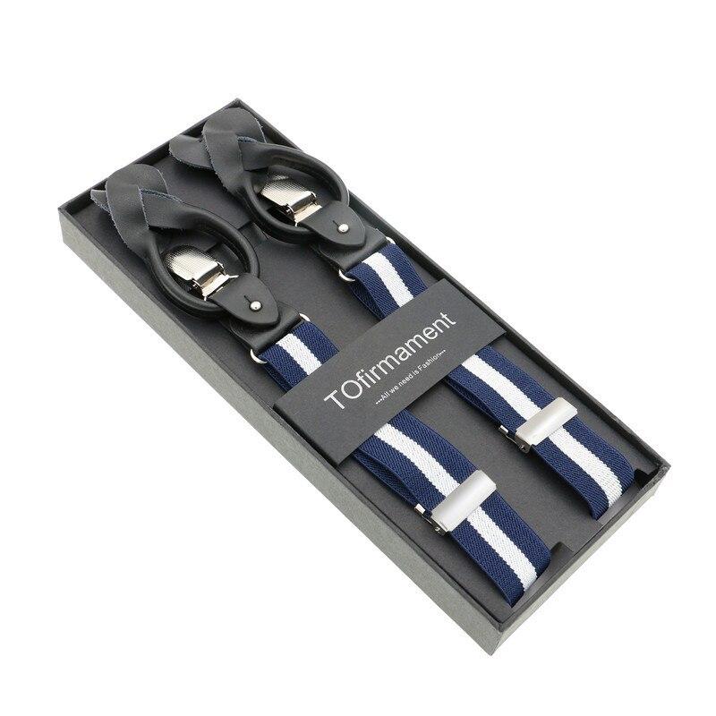 2.5cm Width Slim Dual Clip/button Suspender Set Male Mens Striped Strap Button Braces Father Husband Elegant Gift Box