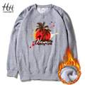 HanHent Fashion Beach Style Sweatshirts Winter Fleece Thick O-neck Pullover Men's Clothing Holiday Hawaii Printed Hoodies AD0715