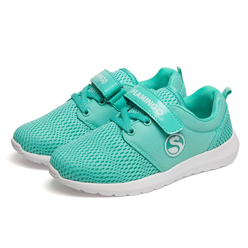 FLAMINGO Genuine Leather Insole Breathable Hook & Loop Spring& Autumn Green Size 26-32 Kids Sport Shoes for Girl 71K-NQ-0026 qplyxco 2017 new super big and small size 31 50 genuine leather pumps shoes women pointed toe fashion spring autumn shoes t516