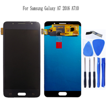 AMOLED לסמסונג גלקסי A7 2016 A7100 A710F A710 LCD תצוגת מסך מגע Digitizer החלפת לגלקסי A7 2016 טלפון חלקי