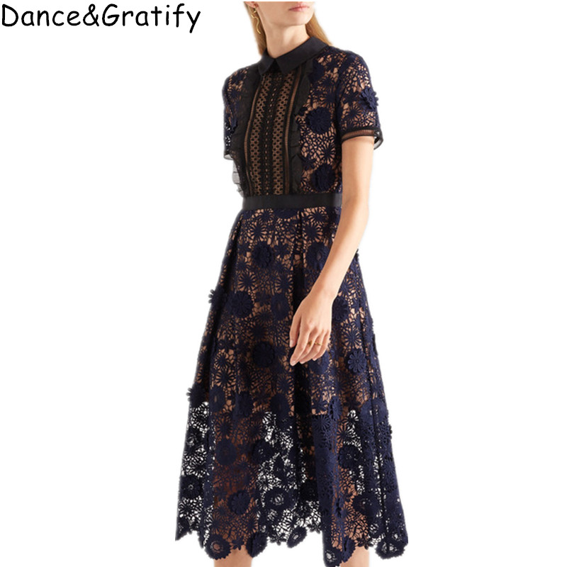 High Quality 2019 New Women Self Portrait Lila Floral Lace Runway Dress Elegant Party Ladies Long