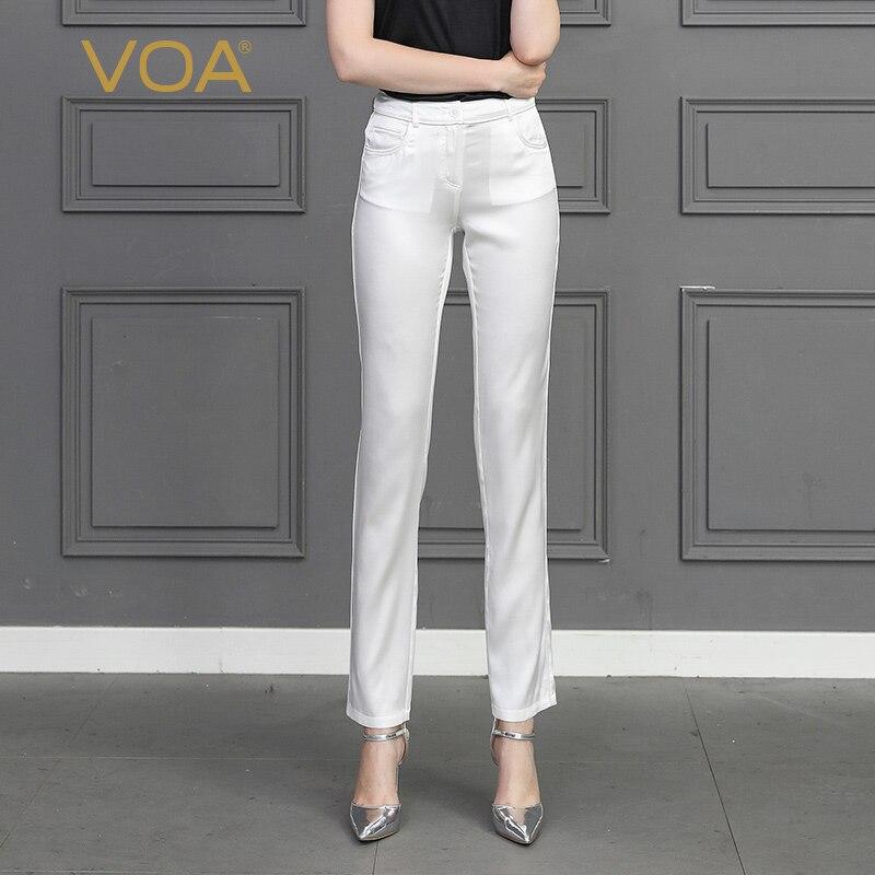VOA Шелковый карандаш брюки однотонные белые тонкие длинные брюки осень одноцветное для женщин; Большие размеры леггинсы женские офисные шт