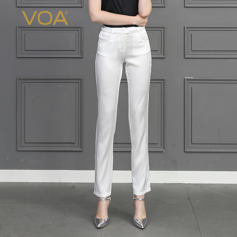 VOA Silk Pencil Solid White Slim Long Trousers Autumn Basic Women Plus Size Leggings Office Ladies Pants Mid Waist Clothes K3152