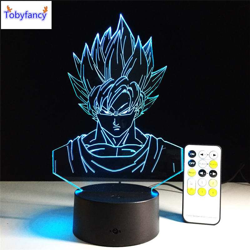Tobyfancy Dragon Ball Z Figure 3D Led Table Lamp Flash Super Saiyan Goku Effect Colorful Acrylic Visual Illusion USB LED Lights