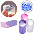 2017 Nueva 2.8 CM Nail Art Sello Placa De Plástico Transparente Clear Jelly Stamper Scraper Tool Set de Manicura Polaco Sello placa de la Imagen Kit