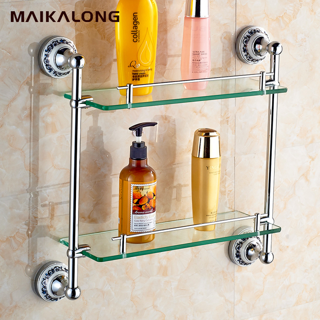 bathroom accessories solid brass golden finish with tempered glassdouble glass shelf bathroom shelf - Bathroom Accessories Glass Shelf