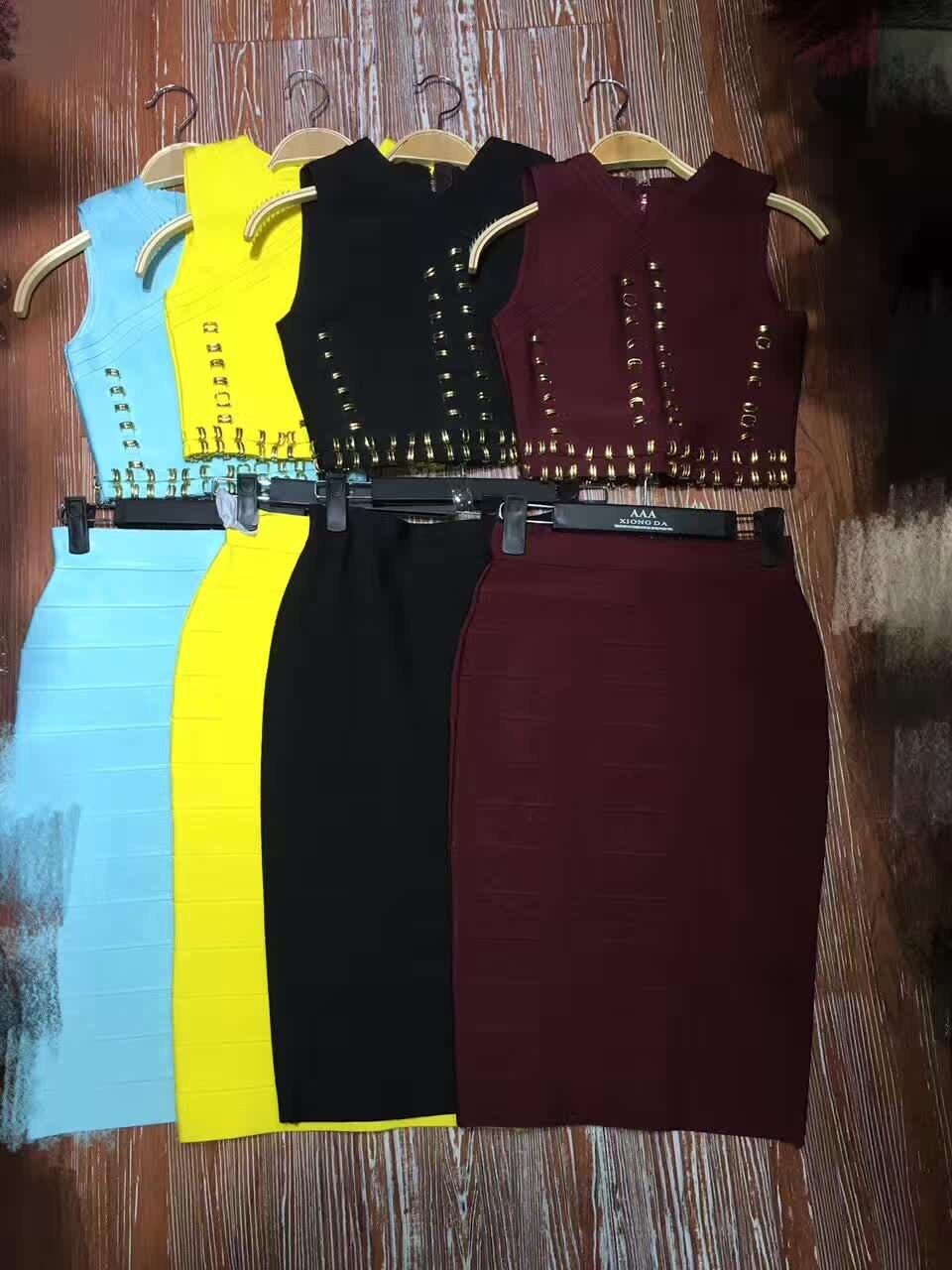 Noir Deux Longueur Wine Celebrity Wear Robe Lumière Ensemble Bleu Red Mode Bandage Perles Magnifique Genou Pièces Au 8WRHqxStPc