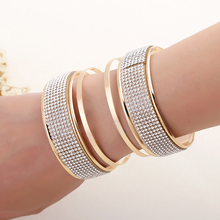 New cuff arc form three-dimensional exaggerated punk Shiny plated rhinestones wristband bracelet jewelry products sell like