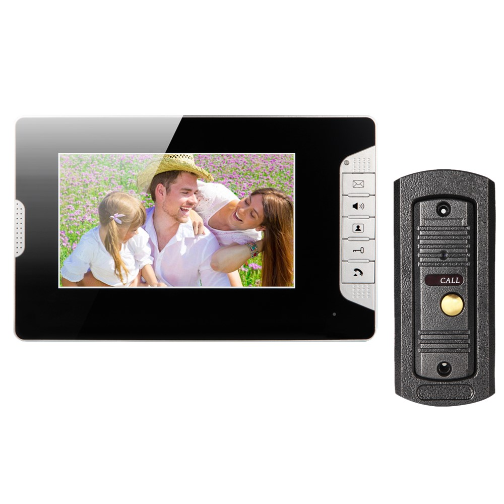 Hotsale 7inch tft lcd screen video door phone intercom system matal outdoor unit doorbell with night vision one to one system 7inch video door phone intercom system for 5apartment tft lcd screen 5 flat indoor monitor with night vision cmos outdoor camera