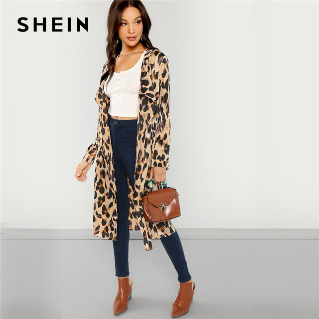 57de33c01b SHEIN Apricot Workwear Elegant Open Front Shawl Collar Leopard Print  Fashion Coat 2018 Autumn Highstreet Women Coats Outerwear