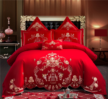 Luxury 100% Cotton Love in the castle Wedding Bedding Set Embroidery Duvet Cover Bed Sheet Pillowcases Queen King Size 4/6/7pcs