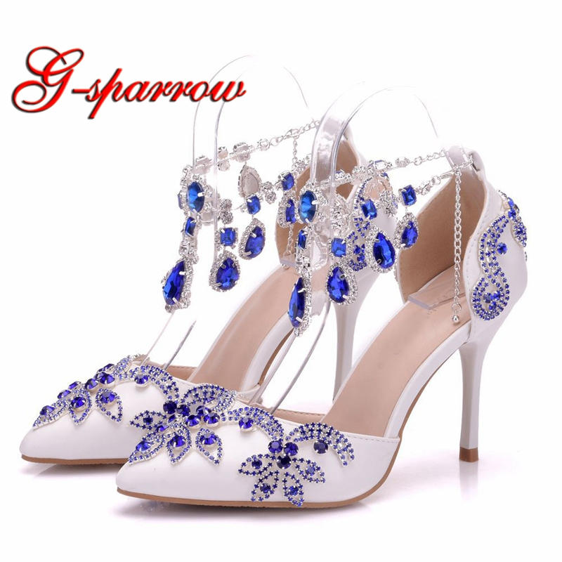 2018 Fashion Summer Sandals Blue Stone Buckle Straps High Heel Lady Shoes Pointed Toe White Wedding Party Shoes Bridal Shoes fashion white lady peep toe shoes for wedding graduation party prom shoes elegant high heel lace flower bridal wedding shoes
