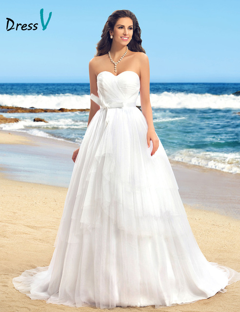 Classic Vintage White Wedding Dress Sweetheart Bowknot Backless