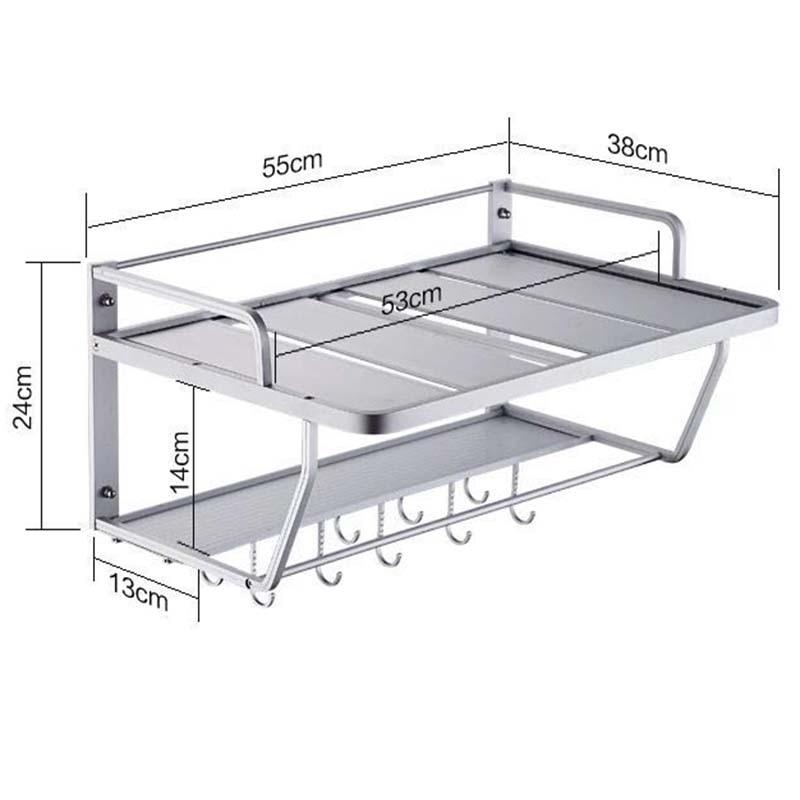 Купить с кэшбэком Space Aluminum Microwave Oven Bracket Wall Mounted Kitchen Rack Light Grate 2 kitchen Shelf Microwave Oven Rack Storage Wall F