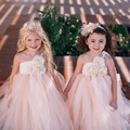 Floor-Length Beige mix Champagne Flower Girl Dress with Lace Baby Girls Tutu Dress Wedding Birthday Party Dress For Girls PT44