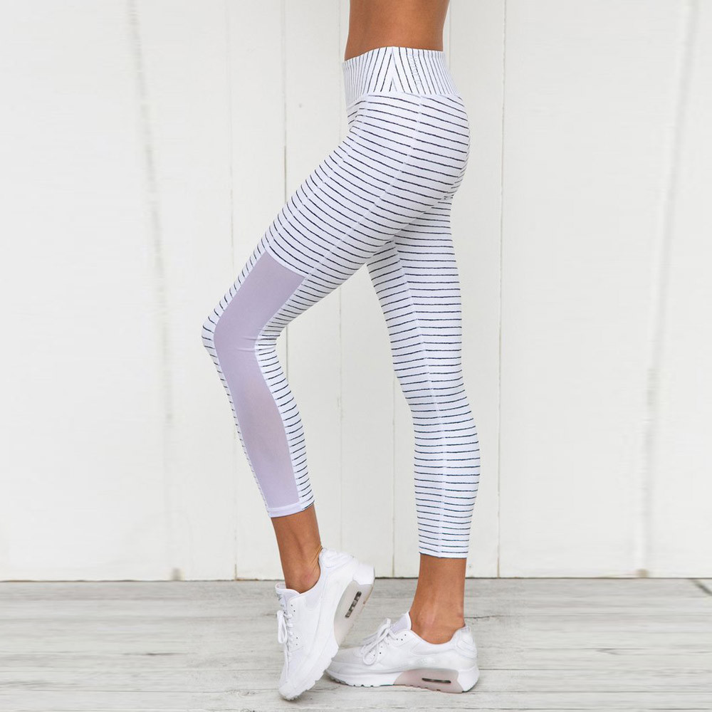 Women Fitness Leggings Ladies High Waist Fashion Ankle-Length Striped Fitness Leggings Pants Sporting Workout Casual Trouser