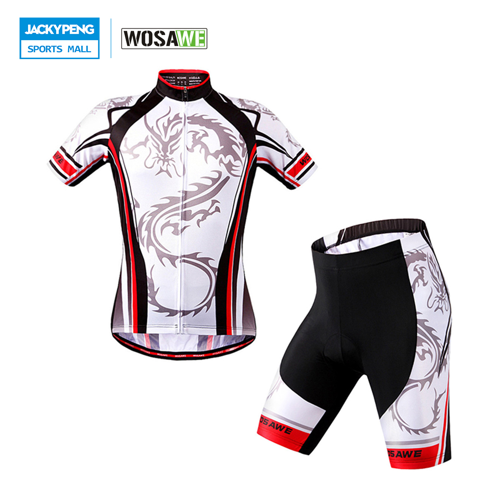 WOSAWE Summer Short Sleeve Cycling Jersey Sets Gel Padded Shirt Pants Suit Breathable Quick-dry Cycling Clothing ckahsbi winter long sleeve men uv protect cycling jerseys suit mountain bike quick dry breathable riding pants new clothing sets