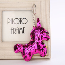 Glittering Sequin Unicorn Key Ring