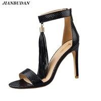 High Quality Pu10cm High Heeled Wedding Sandals 2017 Summer Sexy Ladies Tassel Sandals Snake Skin Pattern