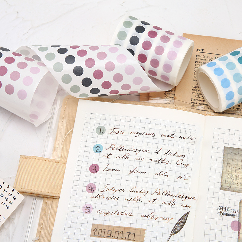 Dot Washi Masking Tape Colorful Cute Paper Washi Tapes Japanese Stationery Scrapbooking Decorative Adhesive Student Tapes