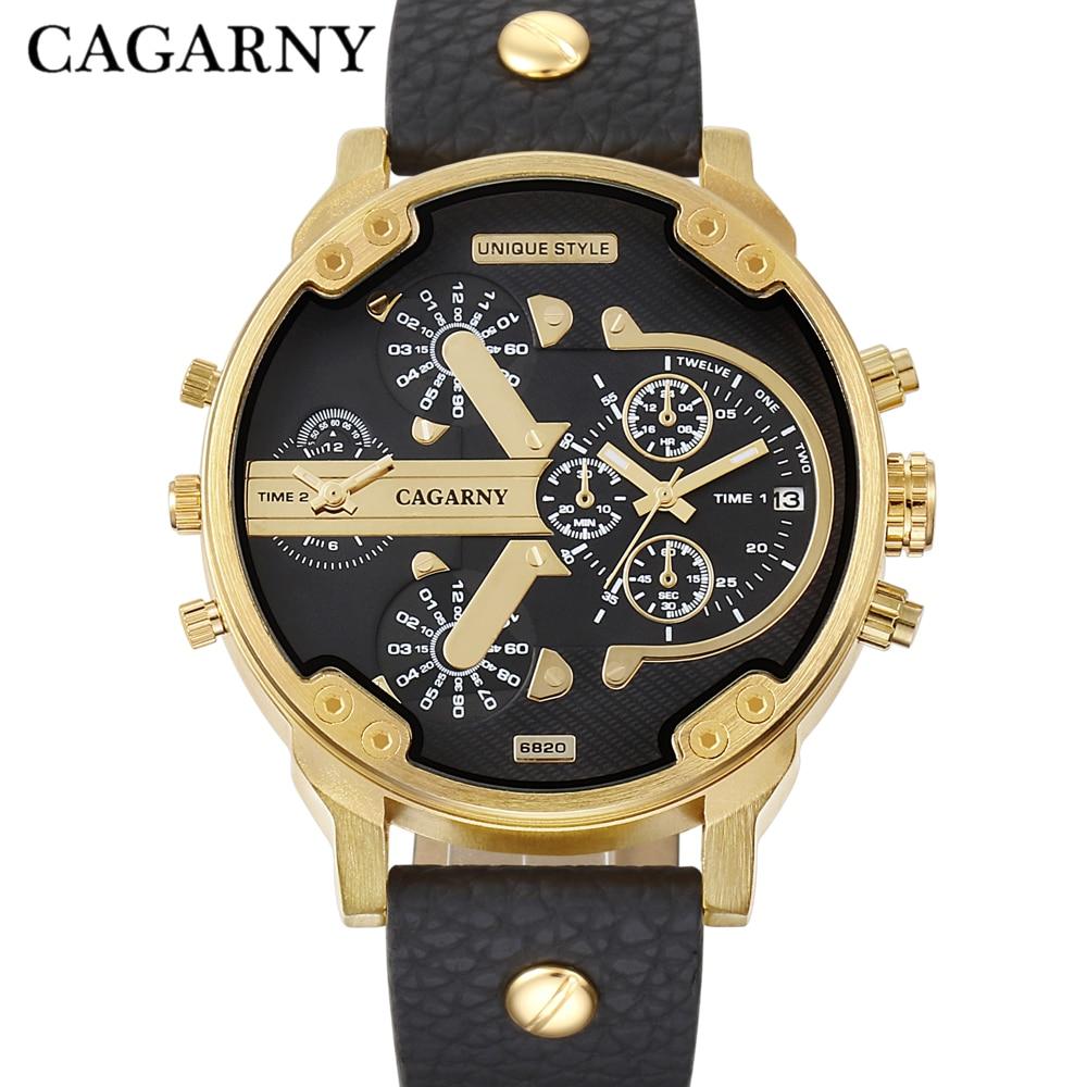 Cagarny Luxury Brand Wrist Watch Mens Gold Quartz Watch Men Leather Sport Watches Dual Display Military Relogio Masculino XFCS