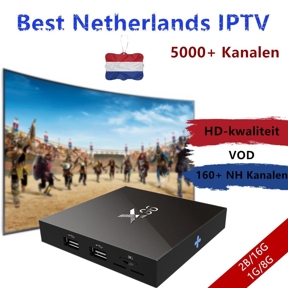 Netherlands IPTV Box X96 2G 16G Amlogic S905X Quad Core Android 7.1 TV Box Wifi HDMI 4K*2K 5000+ europe channels 160 Dutch tv t95x android tv box 2g 8g android 6 0 amlogic s905x quad core 2 4ghz wifi kodi pre installed iptv 16 0 install media player