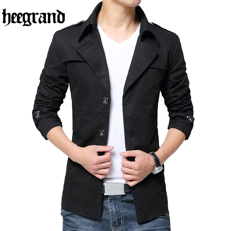 HEE GRAND 2017 Fashion Trench Men High Quality Turn-Down Collar Jacket Men Male Trench Coat Plus Size M-4XL MWF306
