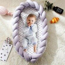 Портативное хлопковое гнездо для детской кровати с подушкой, Узелок, длинная ручная работа, завязанная тесьмой, детская кроватка для детской кроватки, детская кроватка