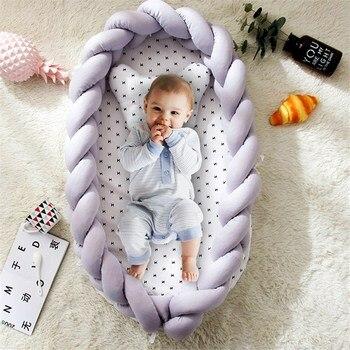 Cama de bebé de algodón portátil nido con nudo de almohada largo hecho a mano anudado trenza cuna de bebé para niños cuna