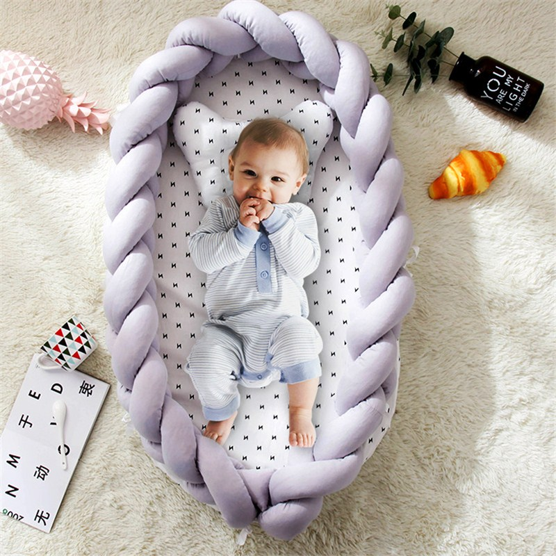 Portable Cotton Baby Bed Nest With Pillow Knot Long Handmade Knotted Braid Baby Bed Crib For Children Infant Kids Cradle Cot
