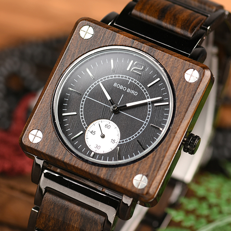 marque de luxe BOBO BIRD Wooden Men Square Watches Luxury Quartz Personalized Wood Watch Gifts for Men relojes de marca famosa-in Quartz Watches from Watches