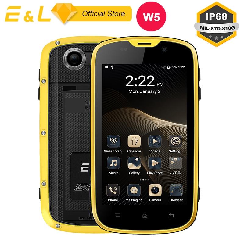 E & L W5 Mobile Téléphone Android Téléphones Originaux Imperméable Antichoc Téléphone Quad Core Tactile Téléphone Smartphone 4g Débloqué téléphones portables